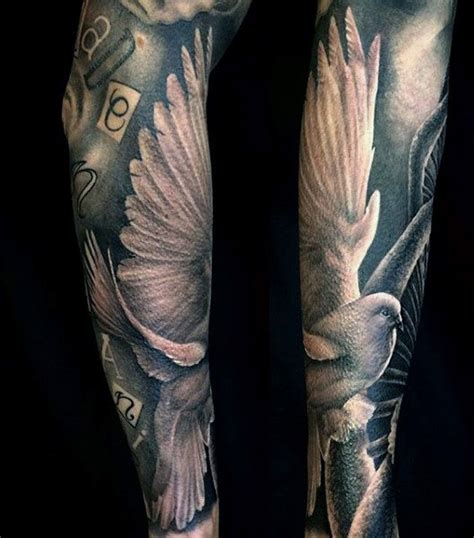 mens tattoo sleeve 50 dove tattoos for soaring designs with harmony