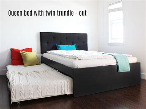 queen trundle beds how to build a queen bed with twin trundle ikea hack