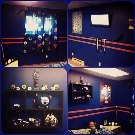hockey bedroom ideas hockey themed bedroom oilers boys bedroom the boys