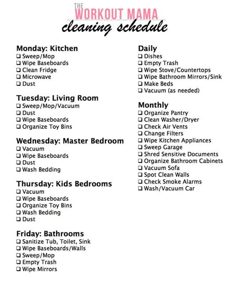 Cleaning Schedule Archives The Workout Mama Daily Weekly Monthly Cleaning Schedule Template