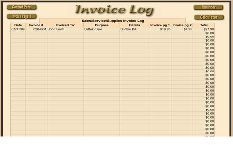 invoice log template invoice log free printable invoice