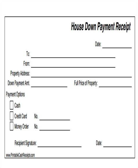 down payment on house 44 sle receipt templates