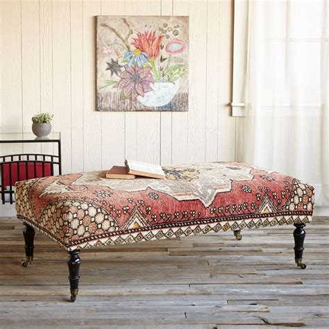 rug covered ottoman galatia turkish carpet ottoman eye catching as a bench footstool or coffee table our