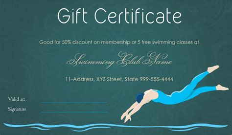 dive in swimming club gift certificate template