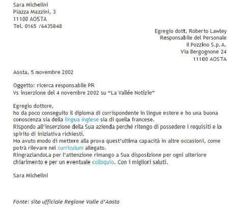 lettere motivazionali esempi lettera di presentazione in risposta ad un annuncio