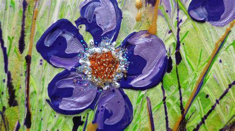 fiori quadri pin fiori astratti dipinti su parete on