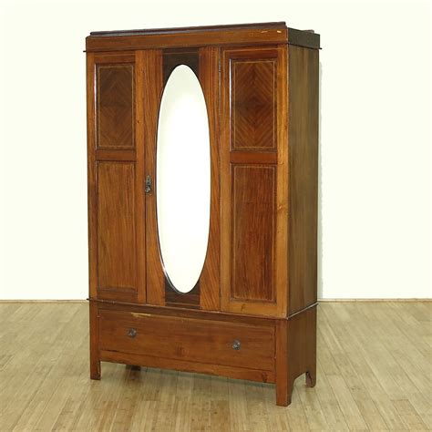 antique armoire with mirror c1949 antique english inlaid mahogany armoire wardrobe w