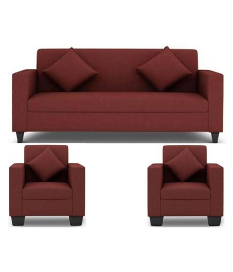 free sofa set westido 5 seater sofa set in maroon upholstery with