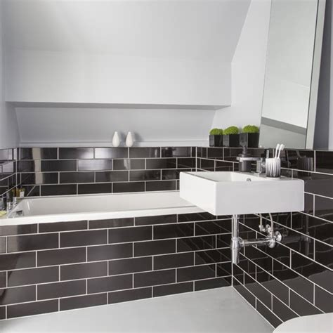 black and white bathroom designs black metro tile bathroom black and white bathroom