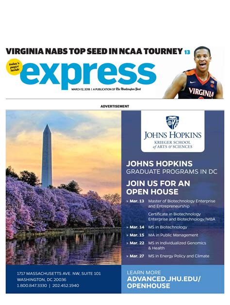 Jhu Mba And Masters In Biotechnology by Express 03122018 By Express Issuu