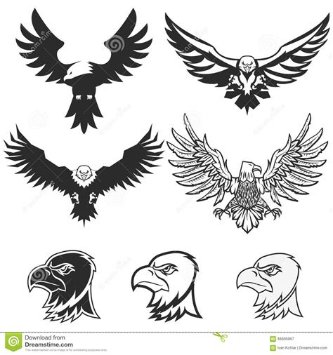 Wing Abstract Emblem Set Logo Template Badge Label Icon Tattoo Design Cartoon Vector Badge Design Template