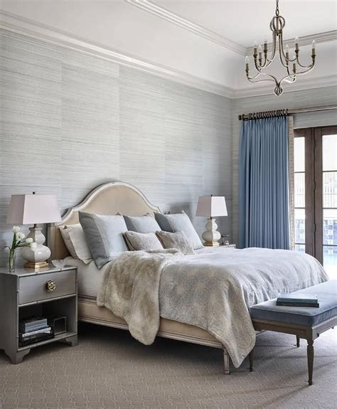 fur wallpaper for bedrooms gray and blue bedroom features walls clad in gray grasscloth wallpaper lined new home