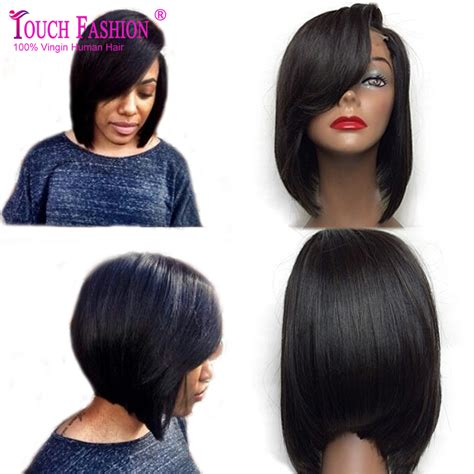 bob wigs human hair black women short straight black lace front wigs for black women
