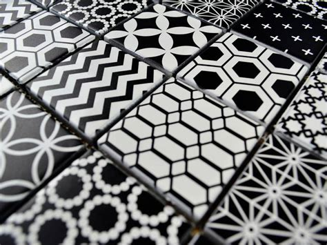 Mosaik Muster Vorlagen Drucken Glasmosaik Fliesen Patchwork Black Schwarz Weiss Mosaic Outlet