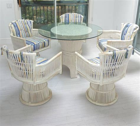 Dining Room Table With Swivel Chairs Mcguire Bamboo Sheaf Dining Table And Five Swivel Chairs For Sale At 1stdibs