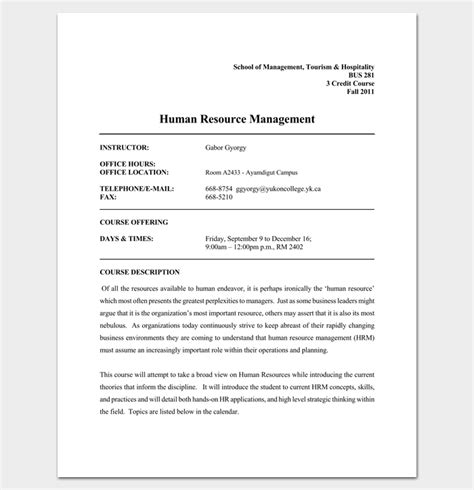 Mba Human Resource Management Course Outline program outline template 19 for word pdf