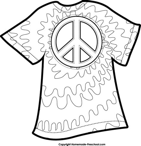Tie Dye Coloring Pages free peace sign clipart