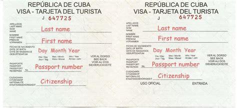 cuban tourist cards visas   travel  cuba