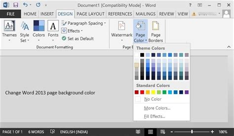 How To Change The Background Color In Pages how to change page background color in word 2016 2013