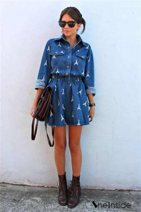 Dress Navy Eiffel navy sleeve eiffel tower pockets denim dress