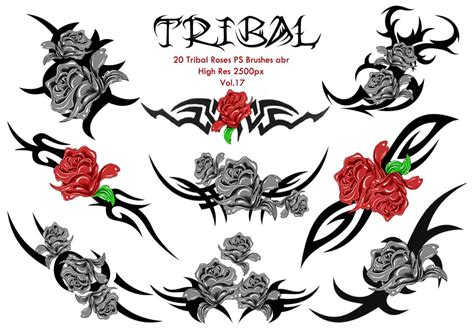 20 tribal roses ps brushes vol 17 free photoshop brushes