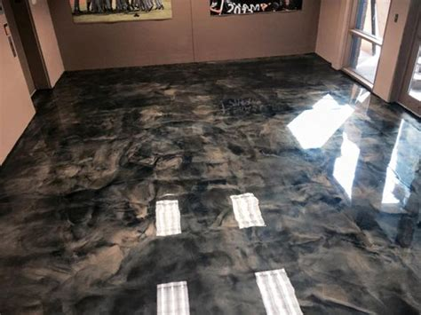making   epoxy metallic floor step  step