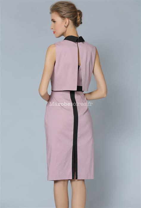 Jolie robe tailleur rose poudré avec petite veste