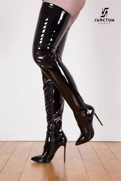 black shiny giaro 12cm heeled thigh high boots