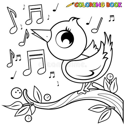 coloring pages of birds singing bird on branch singing coloring page stock vector