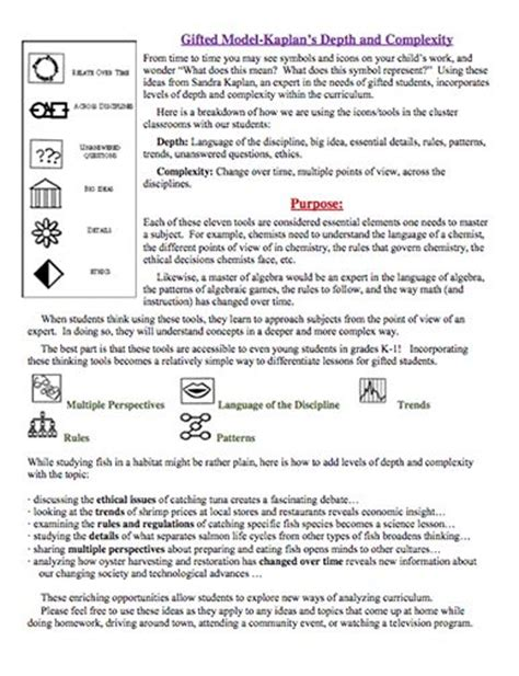 Parent Letter Explaining Common Math 22 best depth and complexity images on gifted