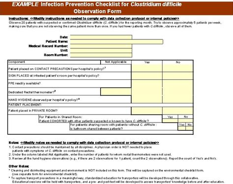 216 3g 3h Resource Environmental Cleaning And Infection Prevention Checklists Agency For Patient Safety Plan Template