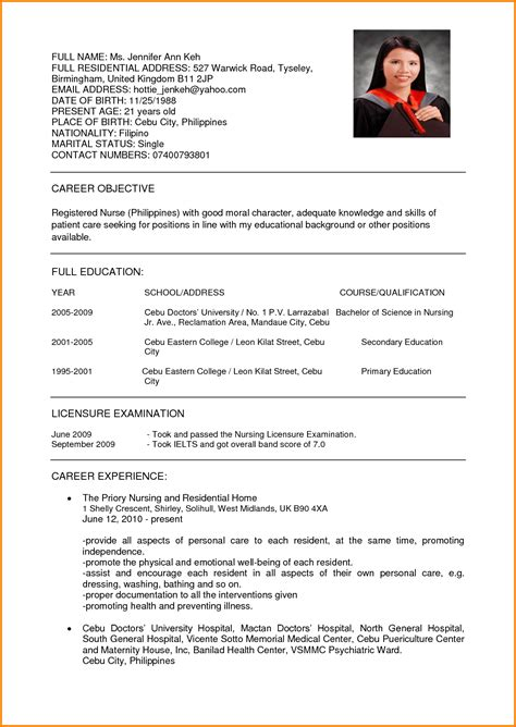 Curriculum Vitae Format For Application by 15 Sle Of Curriculum Vitae For Application Wine
