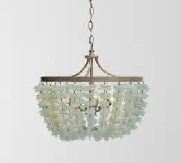 chandeliers pottery barn enya sea glass chandelier pottery barn