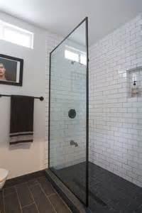 ideas about subway tile bathrooms pinterest white black and bathroom
