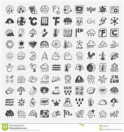 free doodle icons doodle weather icons set royalty free stock images image