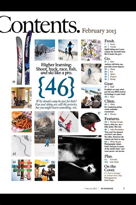 content layout pinterest ski magazine contents page media as art print book