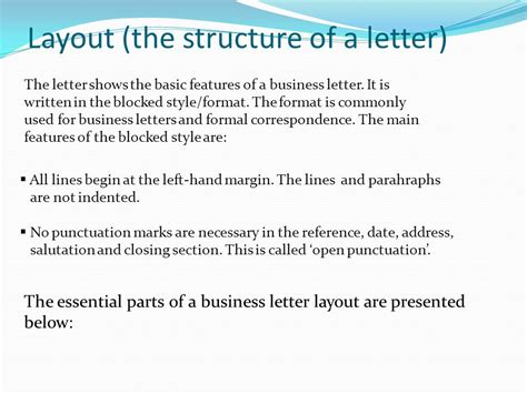 structure and layout of business letter business letter layout business letter layouts inventory