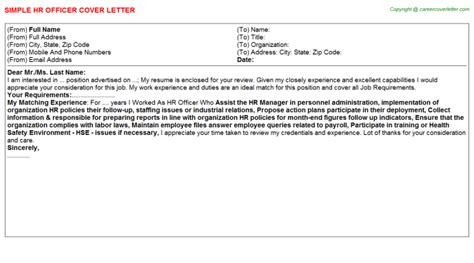 Title Officer Cover Letter by Hr Officer Cover Letters Sles