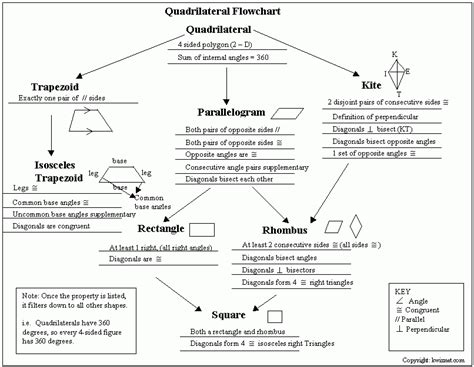 quadrilaterals flowchart quadrilateral flow chart relation between quadrilaterals