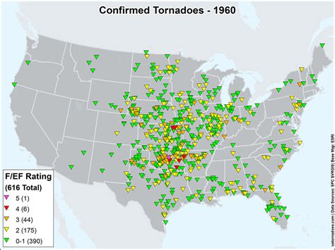 tornado map us tornadoes map1960 u s tornadoes