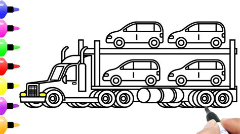 draw car carrier  shipping cars  kids