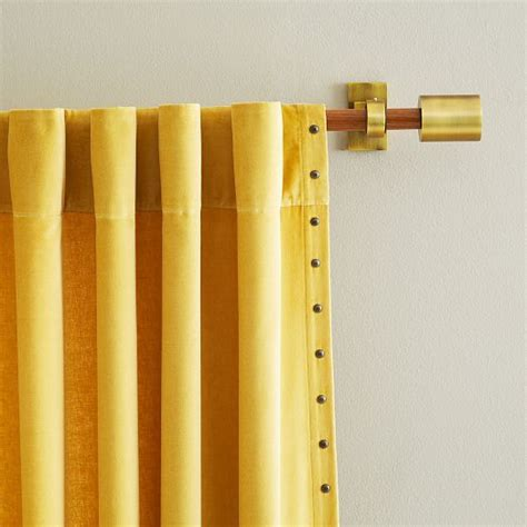 add a rod curtain hardware velvet nailhead curtain horseradish west elm more