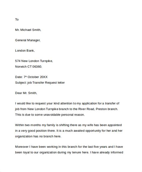 Transfer Request Letter For Bank Employee Sle Transfer Request Letter 5 Documents In Pdf Word
