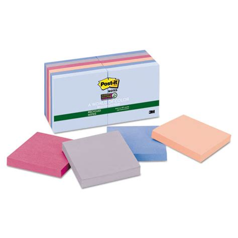 Paper Ink Stick Label Post Its Memo Tempel Kecil post it notes sticky recycled notes in bali colors 3 x 3 90 sheet 12 pack