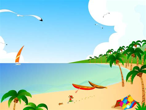 wallpaper cartoon beach wallpapers vector beach