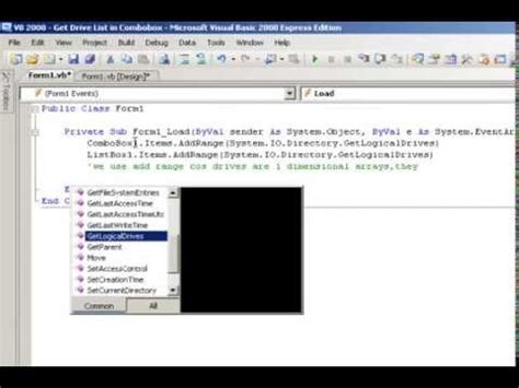 tutorial vb net 2008 pdf visual basic 2008 tutorial get drive list in combobox
