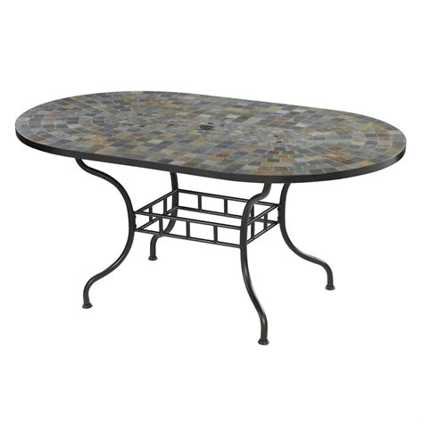Patio Dining Tables Only Shop Home Styles Harbor 39 5 In W X 65 In L Oval Steel Dining Table At Lowes