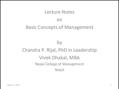Mba Basic Concepts by Basic Conceptual Perspectives In Management