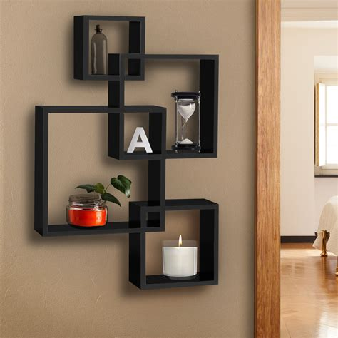 bcp intersecting squares floating shelf wall mounted home decor furniture  ebay
