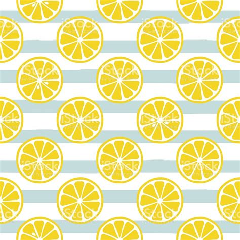 cute lemon pattern cute yellow lemon slices on striped blue background stock